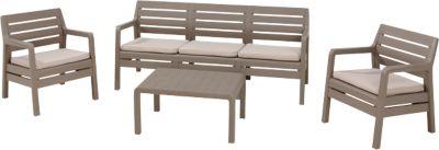 4-tlg. Kunststoff Lounge Sitzgruppe ´´Berlin´´ mit 3-Sitzer beige/braun