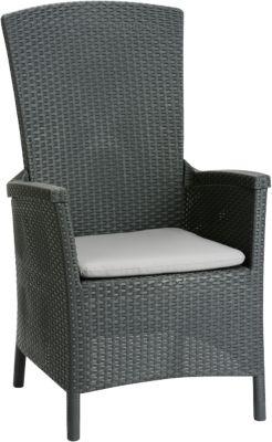 Polyrattan Relax Sessel ´´Sunny´´ mit verstellbarer Rückenlehne grau/anthrazit Gr. 180 x 200