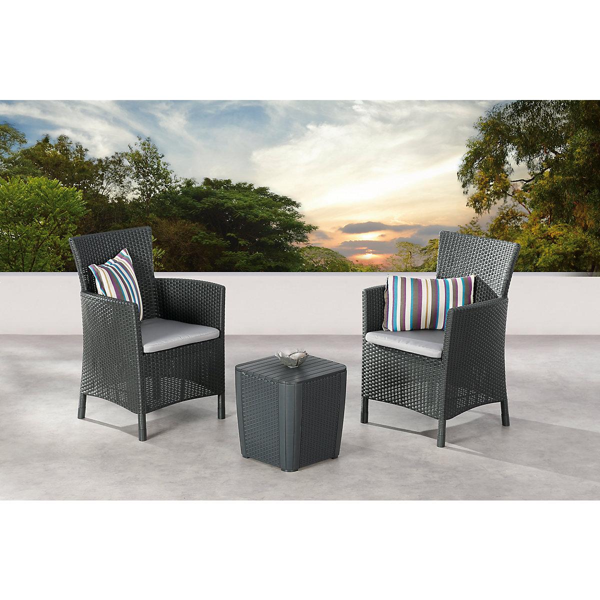 5 tlg polyrattan balkon sitzgruppe clara grau yomonda. Black Bedroom Furniture Sets. Home Design Ideas