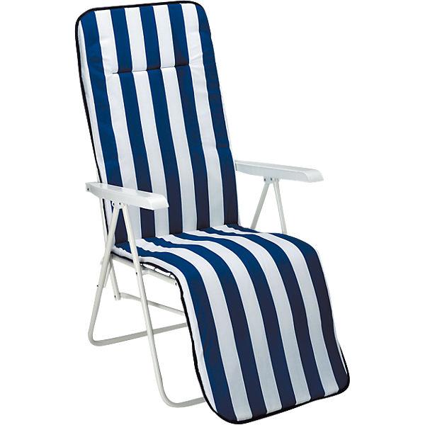 garten liegestuhl binz streifen mit polster klappbar blau yomonda. Black Bedroom Furniture Sets. Home Design Ideas