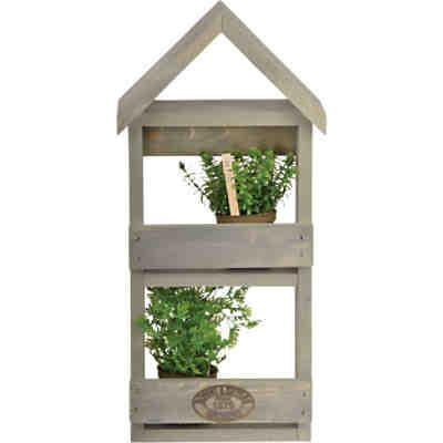 pflanzkasten mit aufbewahrungsbox nature 38x38 cm grau. Black Bedroom Furniture Sets. Home Design Ideas