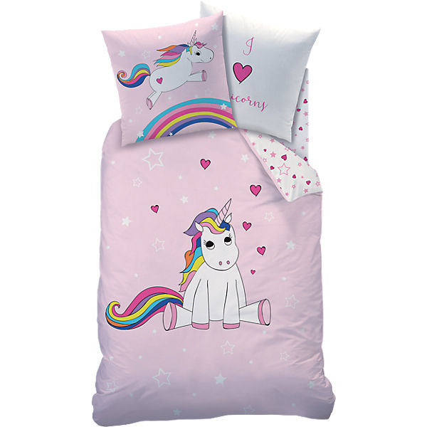 Wende Kinderbettwäsche Einhorn Rainbow Renforcé 135 X 200 Cm