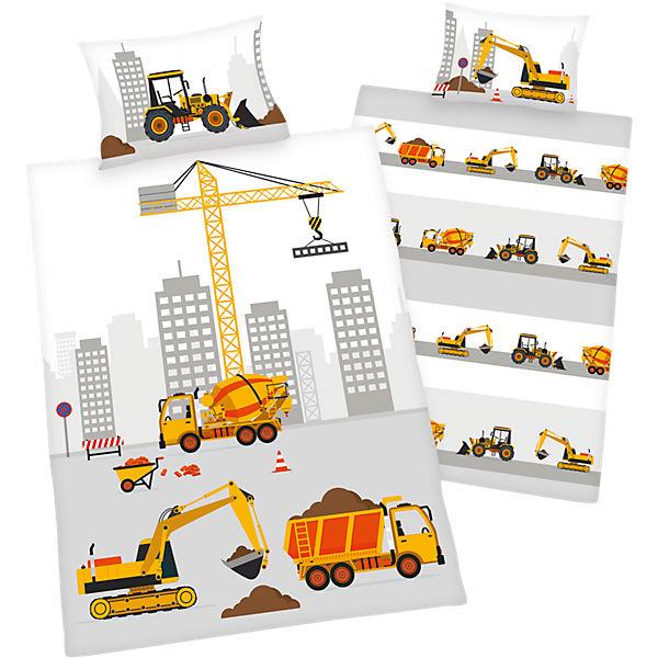 Wende Kinderbettwäsche Baustelle Renforcé 100 X 135 Cm Weiß
