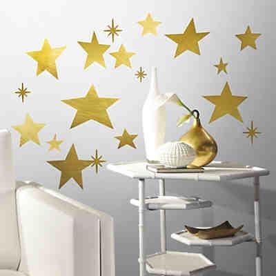 Wandsticker goldfarbige sterne 60 tlg gold roommates - Wandsticker gold ...