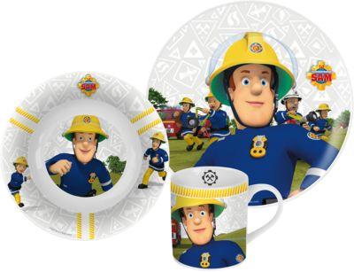 Kindergesschirr Porzellan Feuerwehrmann Sam, 3-...