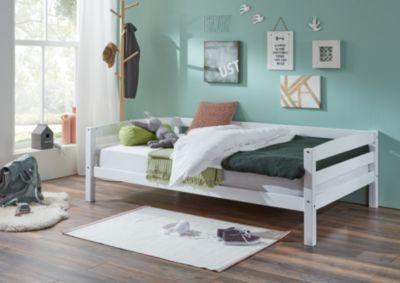 Relita Einzelbett Nora, Buche massiv, weiß lackiert, 90 x 200 cm
