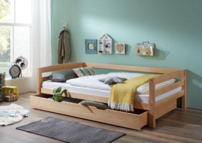 Relita Einzelbett Nora inkl. Rollrost, Buche massiv, natur lackiert, 120 x 200 cm holzfarben | Schlafzimmer > Betten > Funktionsbetten | Relita