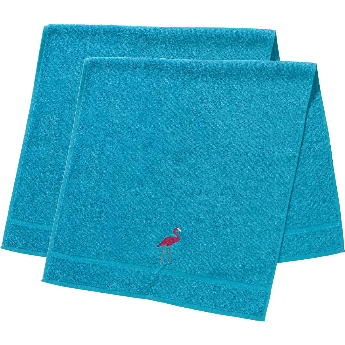 handtuch 2er set je 50 x 100 cm flamingo t rkis t rkis. Black Bedroom Furniture Sets. Home Design Ideas