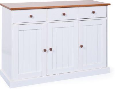 Kommode ´´Country´´ mit 3 Schubladen und Türen braun/weiß