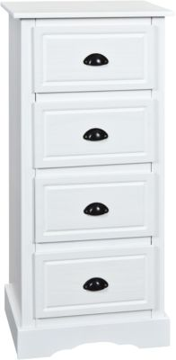 Säulen Kommode ´´Adele´´ mit 4 Schubladen weiß