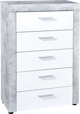 Beton/Hochglanz Kommode ´´Opal´´ mit 5 Schubladen weiß