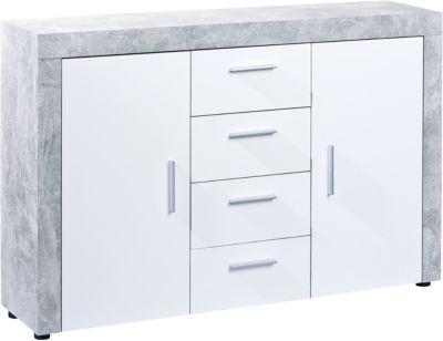 Beton/Hochglanz Kommode ´´Opal´´ mit 4 Schubladen und 2 Türen weiß