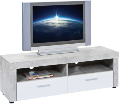 Beton/Hochglanz TV-Board ´´Opal´´ mit 2 Schubladen weiß