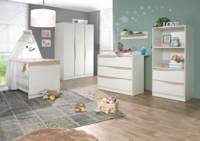 Geuther Komplett Kinderzimmer Wave Nature, 3-tlg. (Kinderbett 70 x 140 cm, Wickelkommode und 3-türiger Kleiderschrank), weiß/natur