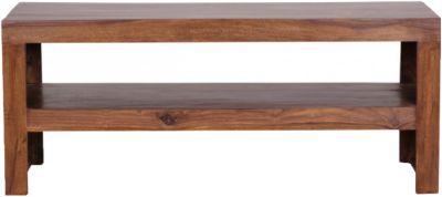 WOHNLING Couchtisch MUMBAI Massivholz 45x110 cm Wohnzimmertisch Landhausstil Beistelltisch Echtholz braun