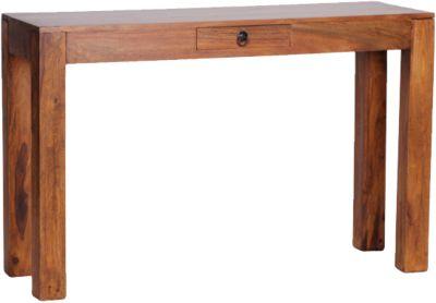WOHNLING Konsolentisch MUMBAI Massivholz Konsole mit 1 Schublade Schreibtisch 120 x 40 cm Landhausstil Sideboard braun
