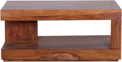 Sheesham Couchtisch ´´Modala´´ Massivholz mit Ablage 90x60 cm braun