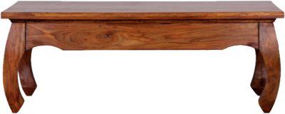 WOHNLING Couchtisch OPIUM Massivholz 110 cm Wohnzimmertisch orientalisch Beistelltisch holzfarben