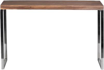 WOHNLING Konsolentisch GUNA Massivholz Konsole mit Metallbeinen 120x45 cm Schreibtisch Echtholz Massiv holzfarben