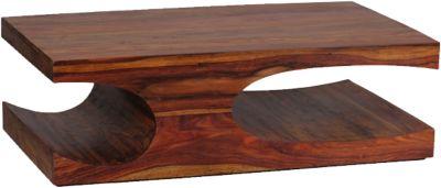 WOHNLING Couchtisch BOHA Holztisch Sheesham Massiv 118 cm Wohnzimmertisch Massivholz Sofatisch braun