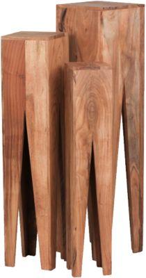 WOHNLING Beistelltisch 3er Set KADA Massivholz Wohnzimmer Tisch Säulen Landhausstil Couchtisch quadratisch braun