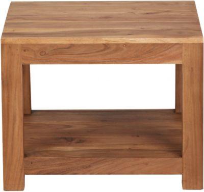 WOHNLING Couchtisch MUMBAI Massivholz 60x60x45 cm Wohnzimmertisch braun Landhausstil Beistelltisch Echtholz