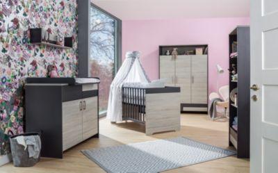 Schardt Sparset Clou, 2-tlg. (Kombi-Kinderbett 70x140 cm, Umbauseiten und Wickelkommode mit Wickelaufsatz), teilmassiv, anthrazit/Suomi Pinie holzfarben Gr. 70 x 140