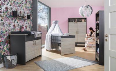 Komplett Kinderzimmer Clou, 3-tlg.(Kombi-Kinderbett 70x140, Umbauseiten, Wickelkommode mit Wickelaufsatz und Kleiderschrank 2-trg.), teilmassiv, anthrazit/Suomi Pinie holzfarben Gr. 70 x 140