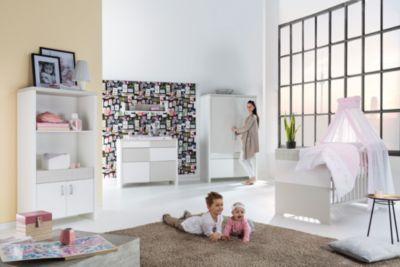 Schardt Sparset Joy, 2-tlg. (Kombi-Kinderbett 70x140 cm, Umbauseiten und Wickelkommode mit Wickelaufsatz), Buche teilmassiv, weiß/sandfarbig Gr. 70 x 140