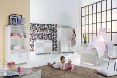 Komplett Kinderzimmer Joy, 3-tlg.(Kombi-Kinderbett 70x140, Umbauseiten, Wickelkommode mit Wickelaufsatz und Kleiderschrank 4-trg.), Buche teilmassiv, weiß/sandfarbig Gr. 70 x 140