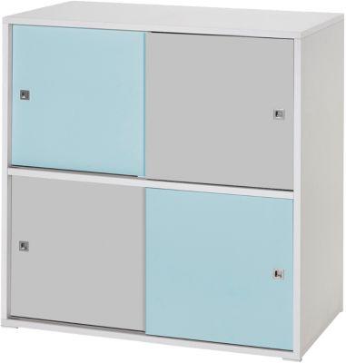 Schardt Kommode Clic, türkis/grau, 4-türig blau