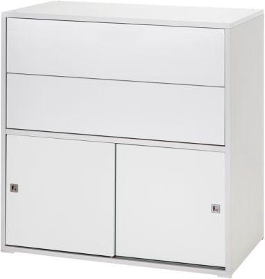 Schardt Kommode Clic, Push-to-Open, weiß, 2-türig und 2 Schübe
