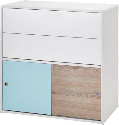 Kommode Clic, Push-to-Open, weiß/türkis/Holzdekor Pinie, 2-türig und 2 Schübe blau