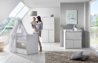 Komplett Kinderzimmer Clic, 3-tlg.(Kombi-Kinderbett 70x140, Umbauseiten, Wickelkommode mit Wickelaufsatz und Kleiderschrank 4-trg.), Buche teilmassiv, weiß Gr. 70 x 140