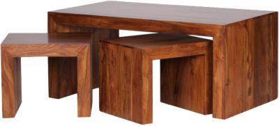 3-tlg.Sheesham Couchtisch + 2 Hocker Set ´´Mia´´ Massivholz braun