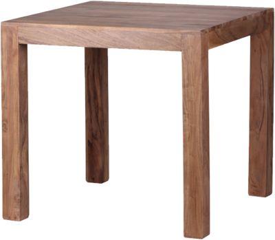 WOHNLING Esstisch MUMBAI 80x80cm Massivholz Akazie Esszimmertisch Holztisch Küchentisch Landhausstil braun