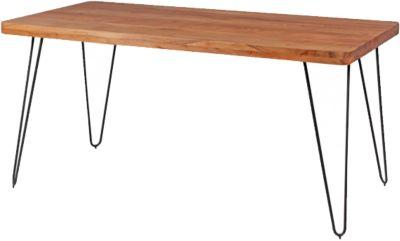 Akazien Esstisch ´´Tree´´ Massivholz/Metall 160x80 cm beige