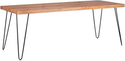Akazien Esstisch ´´Tree´´ Massivholz/Metall 200x80 cm beige
