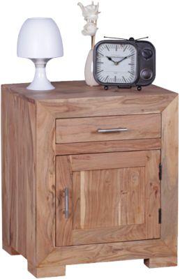 Akazien Nachttisch Gina Massivholz, mit 1 Schublade+Tür 50x40 cm beige