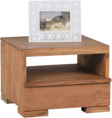 Akazien Nachttisch Mero Massivholz, mit 1 Schublade+Ablage 40x45 cm beige