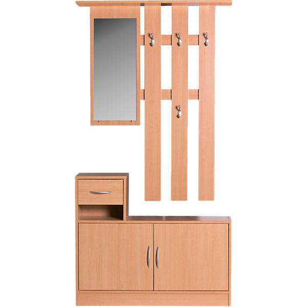 Garderobe Set Carlos Schuhschrank Wandpaneel Mit Spiegel Buche