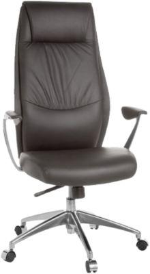AMSTYLE Bürostuhl OXFORD 1 Echtleder Schreibtischstuhl 120kg Synchronmechanik Chefsessel Kopfstütze braun