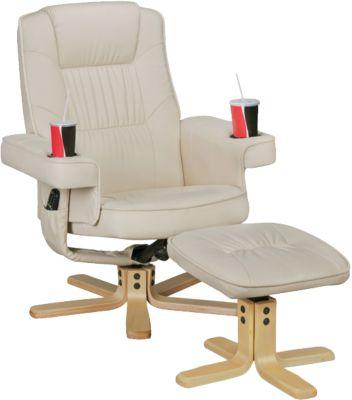AMSTYLE Fernsehsessel COMFORT DUO aus Kunstleder TV-Sessel mit Getränkehalter Relaxsessel mit Hocker creme