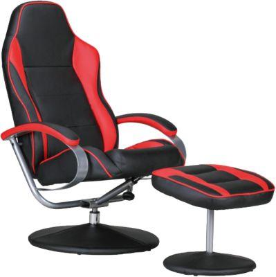 AMSTYLE Fernsehsessel SPORTING TV Design Relax-Sessel Racing Bezug Kunstleder drehbar mit Hocker Racer schwarz