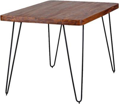 WOHNLING Esstisch BAGLI Massivholz Sheesham Esszimmertisch modern Holztisch mit Metallbeinen Hairpin Legs braun