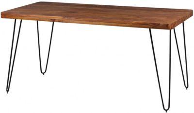 Esstisch BAGLI in 4 Größen und Farben Esszimmertisch Massivholz Holztisch mit Metallbeinen, braun, WOHNLING