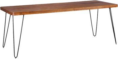 WOHNLING Esstisch BAGLI in 4 Größen und Farben Esszimmertisch Massivholz Holztisch mit Metallbeinen braun