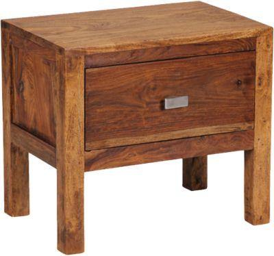 Sheesham Nachttisch Boja Massivholz, mit 1 Schublade 40x30 cm braun
