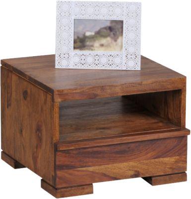 Sheesham Nachttisch Mero Massivholz, mit 1 Schublade+Ablage 40x45 cm braun