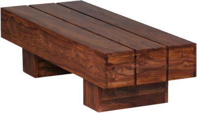 WOHNLING Couchtisch SIRA Holztisch 120cm Wohnzimmertisch Echtholz Sheesham Massivholz braun